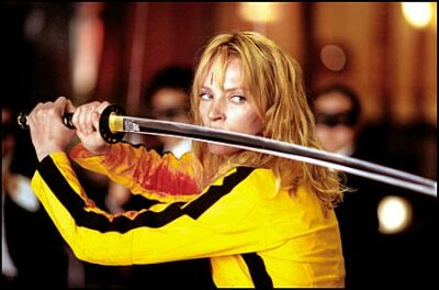 Uma Thurman plays The Bride, an assassin who awakes from a coma to take vengeance on the gangland boss who tried to kill her